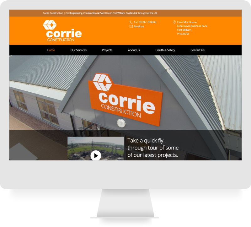 Corrie Construction - Responsive Website Design & Brand  - lamontdesign Design Agency
