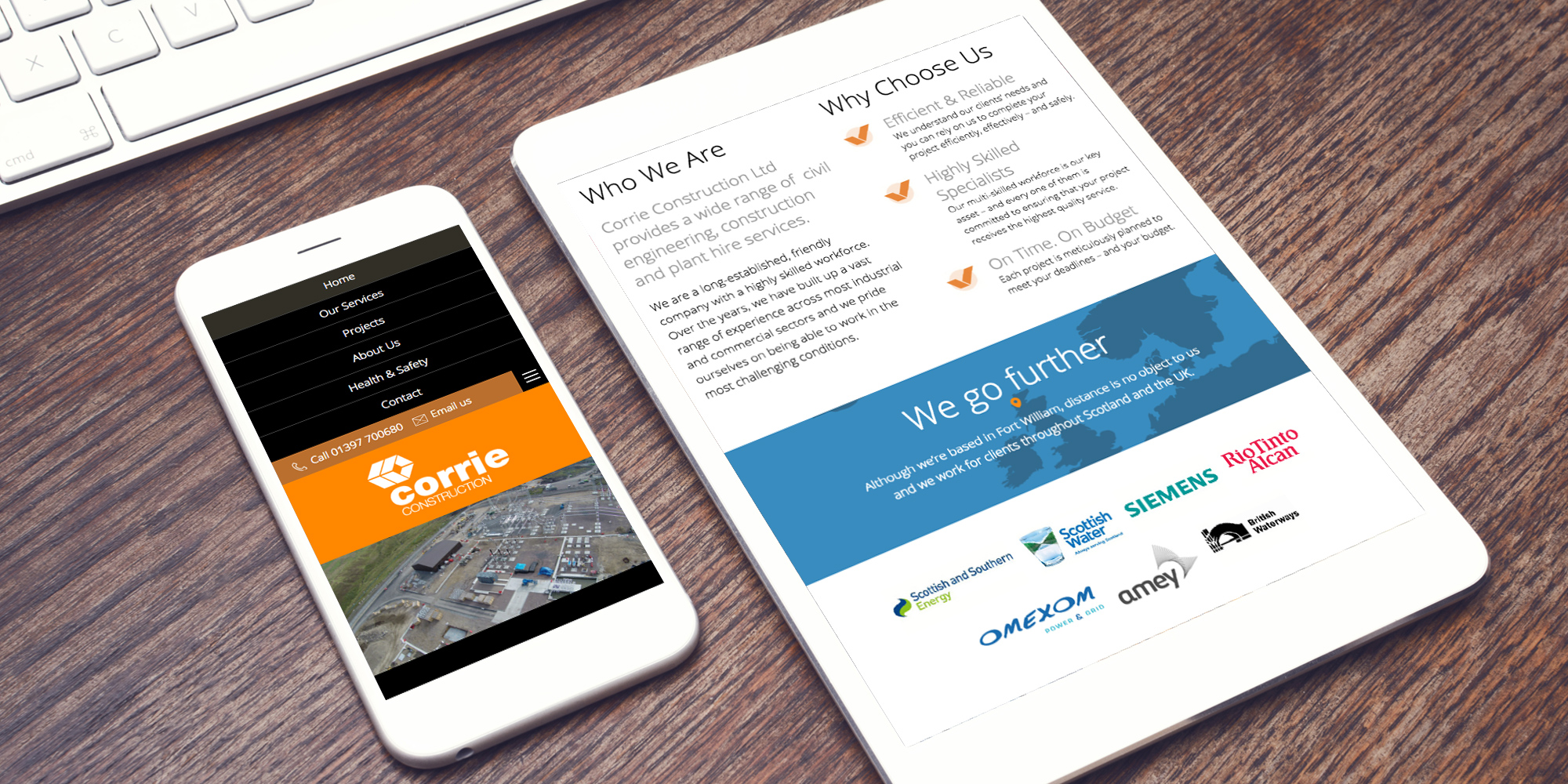 Resposive website design for Corrie Construction